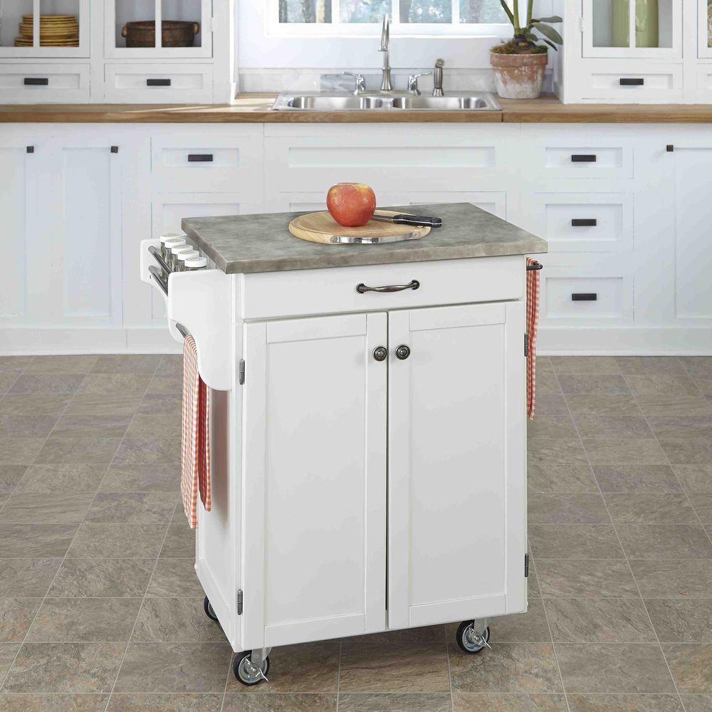 Cuisine Cart White Kitchen Cart With Concrete Top