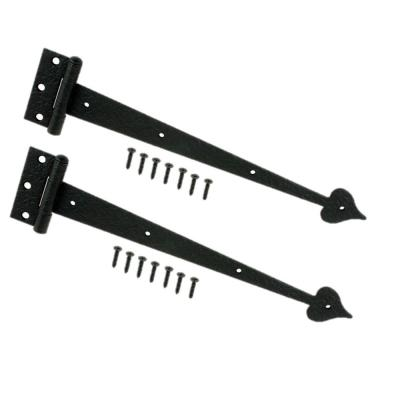 13 in. Black Decorative Tee Hinges (2-Pack)