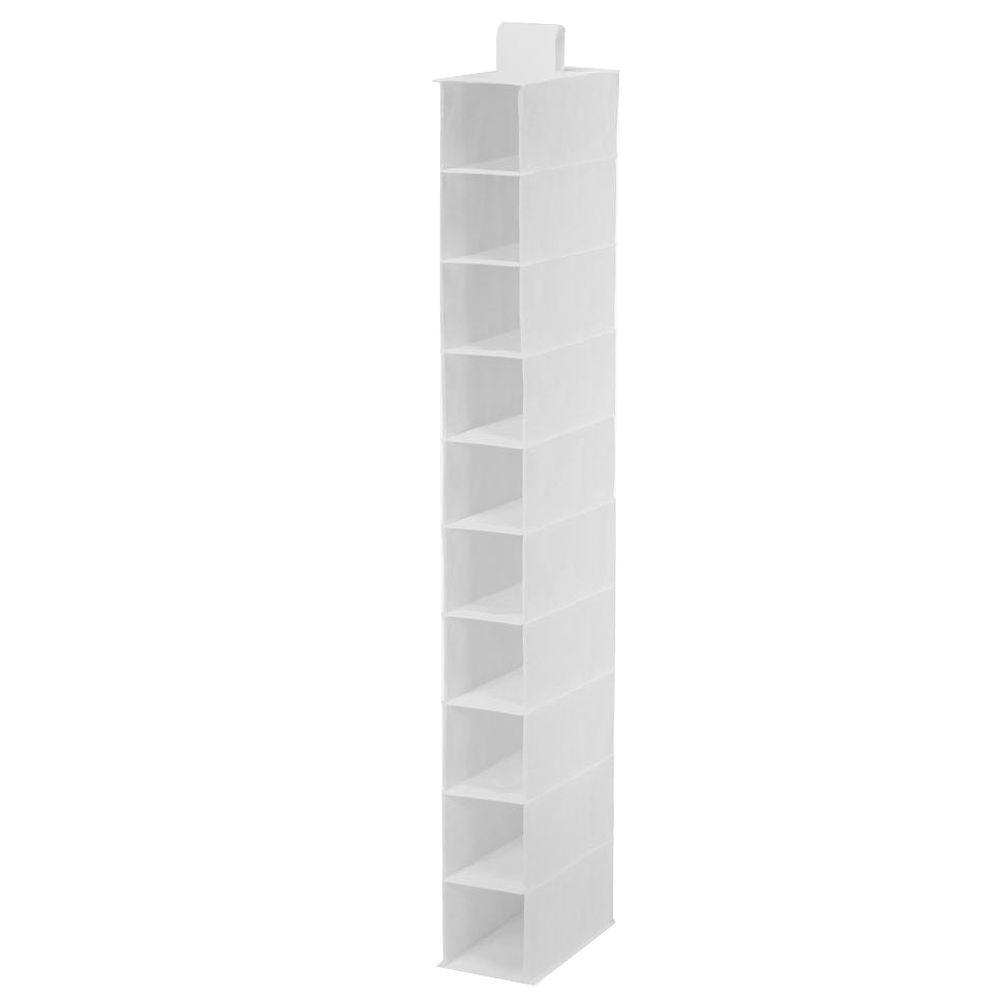 10-Shelf White Polyester Hanging Shoe Organizer