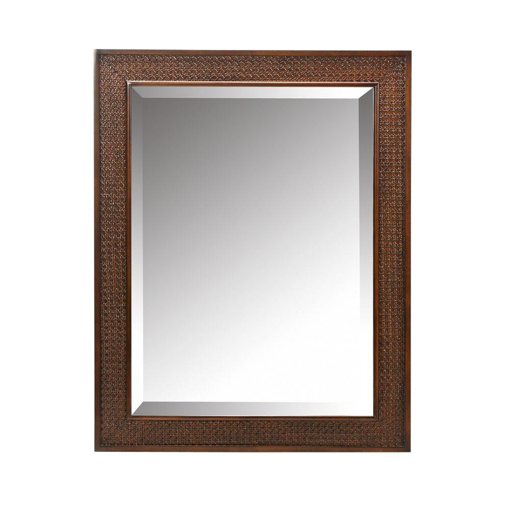 Home Decorators Collection Ansley 32 in. L x 25 in. W Wall Mirror in Walnut
