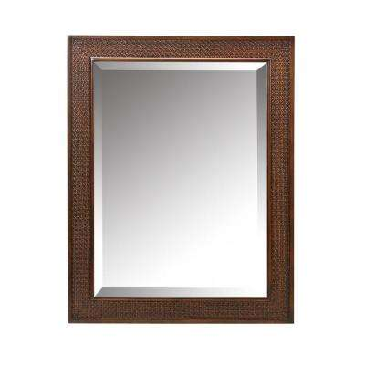 Ansley 32 in. L x 25 in. W Wall Mirror in Walnut