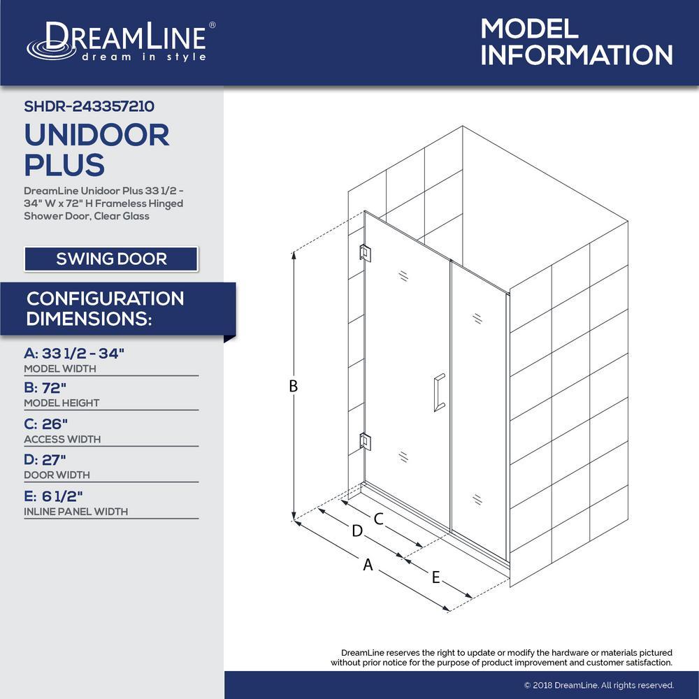 Dreamline Unidoor Plus 33 5 To 34 In X 72 Frameless Hinged Shower Door Brushed Nickel