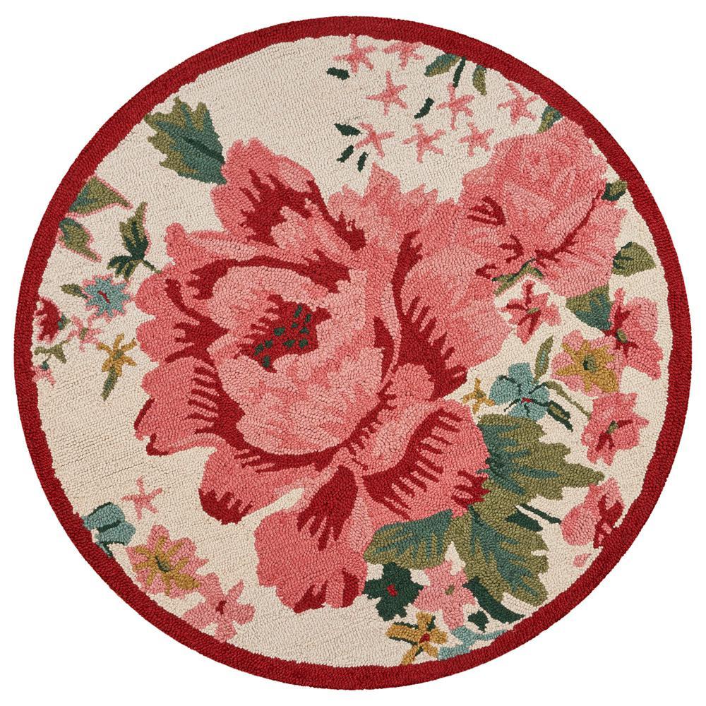 Dazzle Cream / Pink 6 ft. x 6 ft. Rose Indoor Area Rug