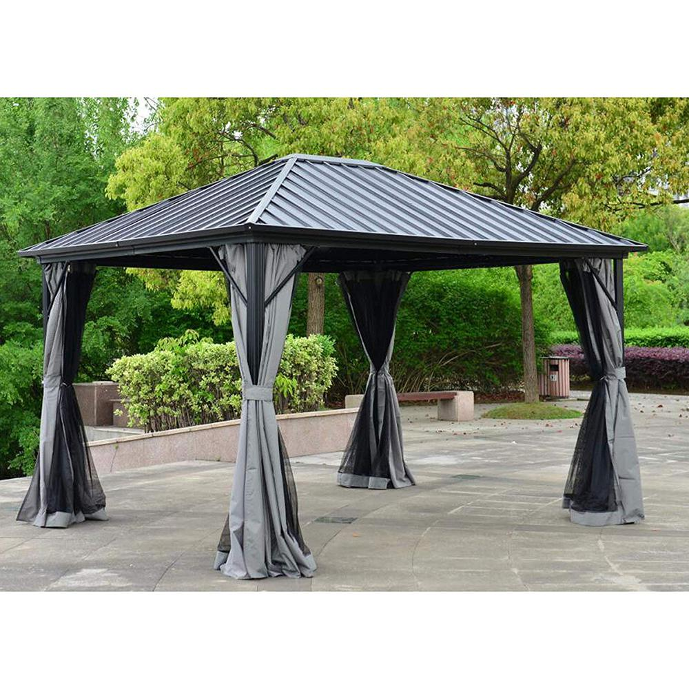 10 Ft Black Aluminum Hardtop Gazebo