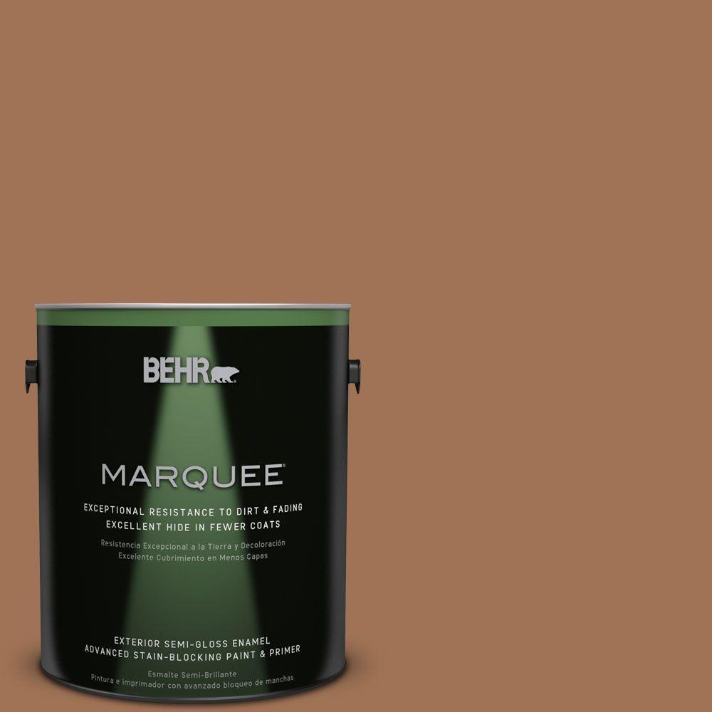 BEHR MARQUEE 1-gal. #S240-6 Ranch Brown Semi-Gloss Enamel Exterior Paint