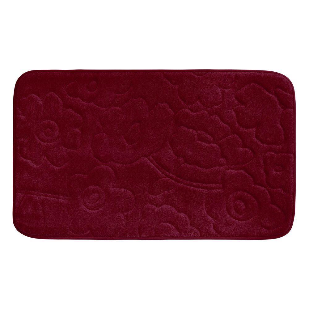 Stencil Floral Red 20 in. x 34 in. Memory Foam Bath Mat