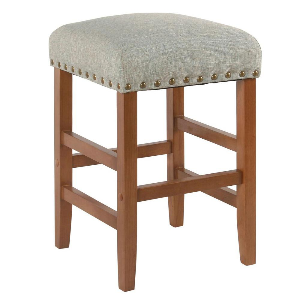 Homepop Open Backless 24 In Textured Navy Bar Stool K7734
