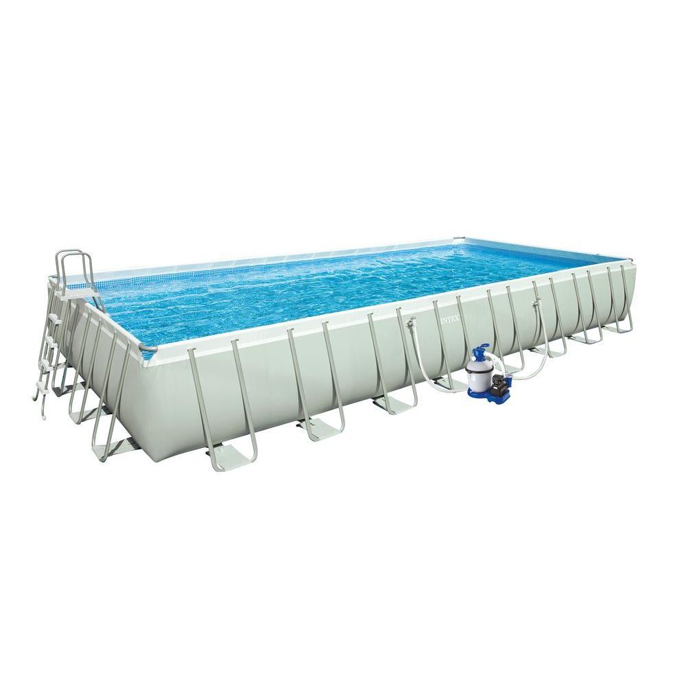 Intex 32 ft. x 16 ft. x 52 in. Rectangular Ultra Frame Pool Set