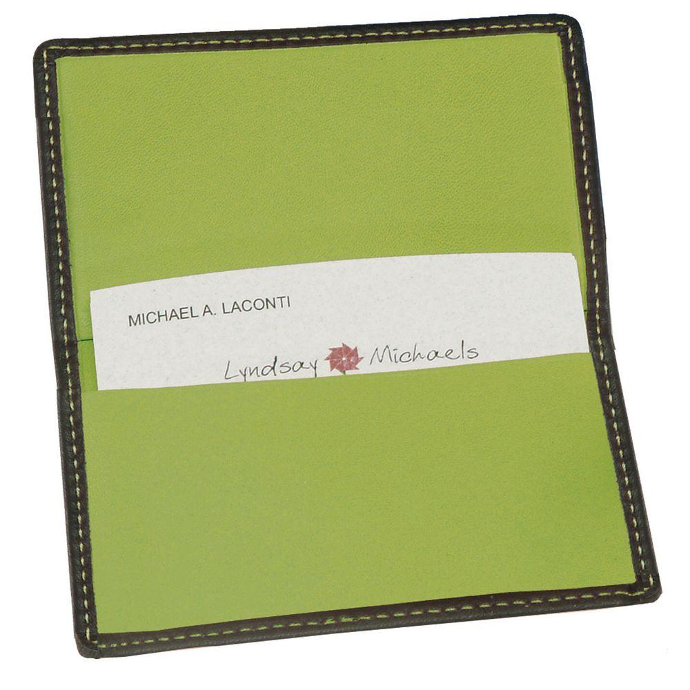 Black and Key Lime Green Business Card Case in Genuine Leather