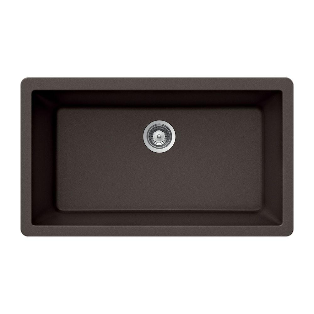 Houzer Quartztone Undermount Granite Composite 33 In Single Bowl Kitchen Sink In Mocha
