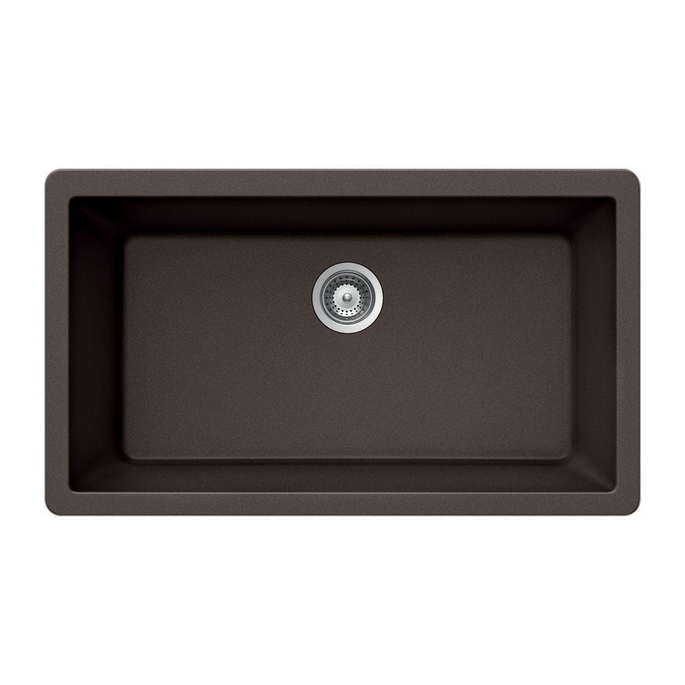 Quartztone Undermount Composite Granite 33 in. Single Bowl Kitchen Sink in Mocha