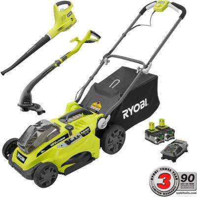 ONE+ 16 in. 18-Volt Cordless Mower/String Trimmer/Blower Combo Kit - Two 4.0 Ah Batteries and Charger Included