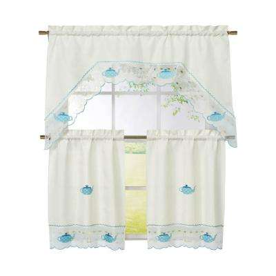 Semi-Opaque Tea Party Embroidered 3-Piece Kitchen Curtain Tier and Valance Set