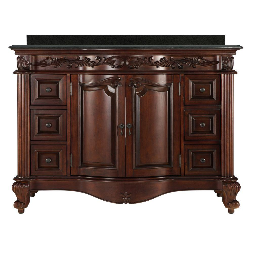 Estates 49 in. Vanity in Rich Mahogany with Granite Vanity Top in Black