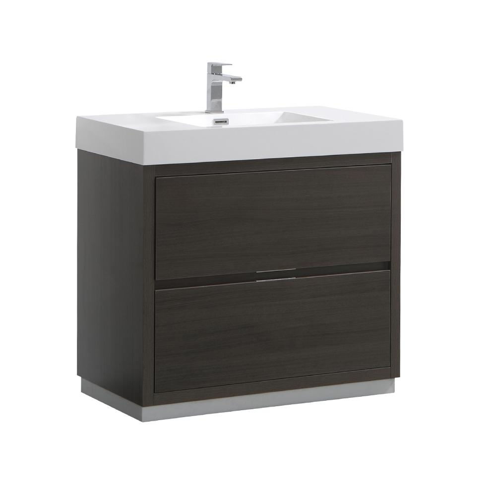 Valencia 36 in. W Bathroom Vanity in Gray Oak with Acrylic