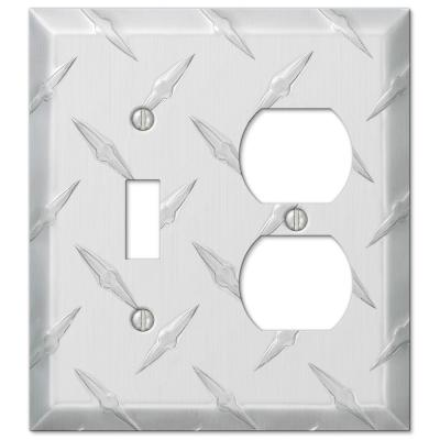 Diamond Plate 2 Gang 1-Toggle and 1-Duplex Aluminum Wall Plate - Aluminum