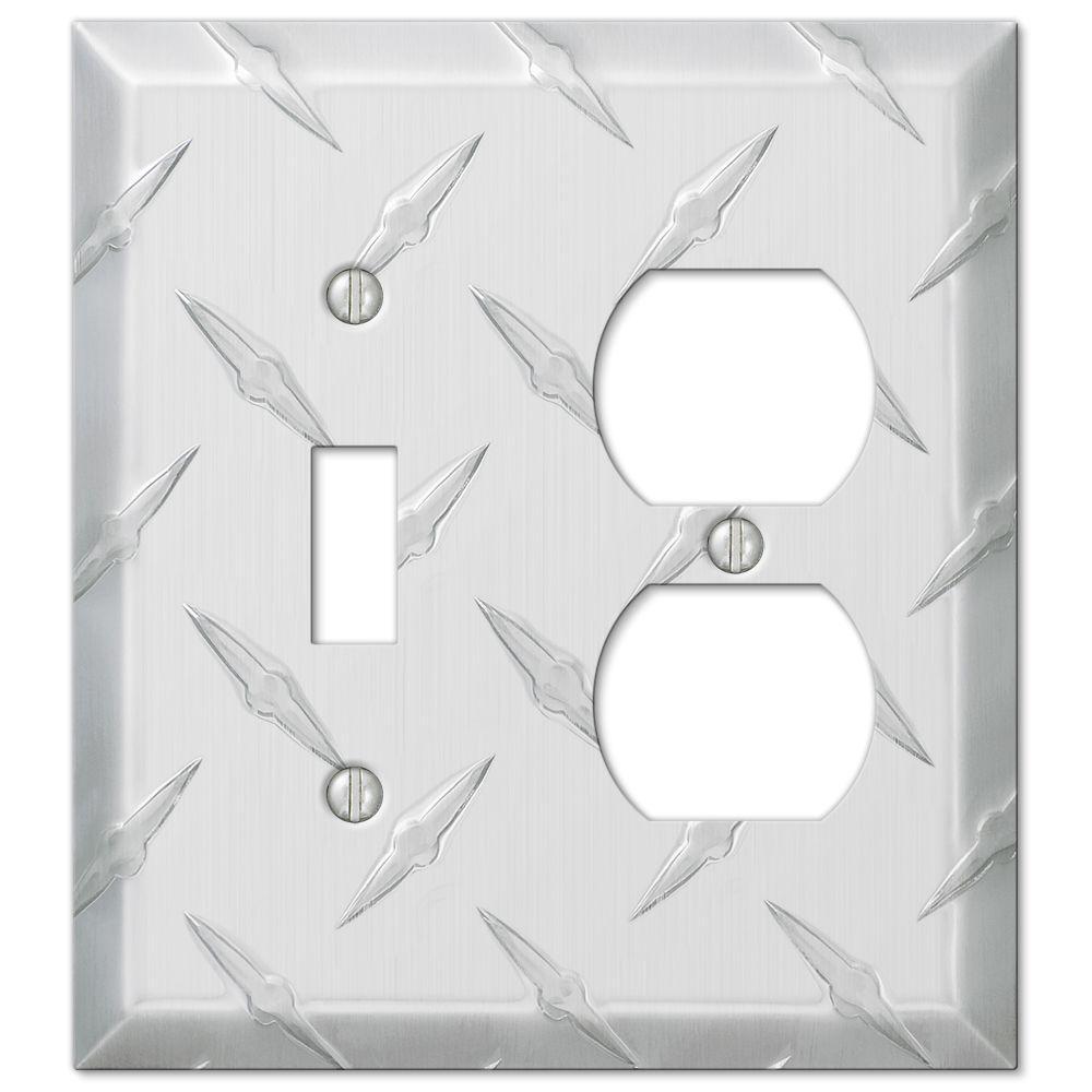 Garage Diamond Cut 1 Toggle 1 Duplex Wall Plate - Chrome
