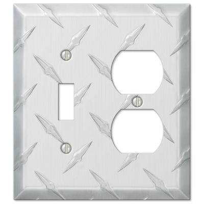 Garage Diamond Cut 1 Toggle 1 Duplex Wall Plate - Chrome