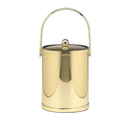 Mylar 5 Qt. Polished Brass Ice Bucket with Track Handle and Metal Lid