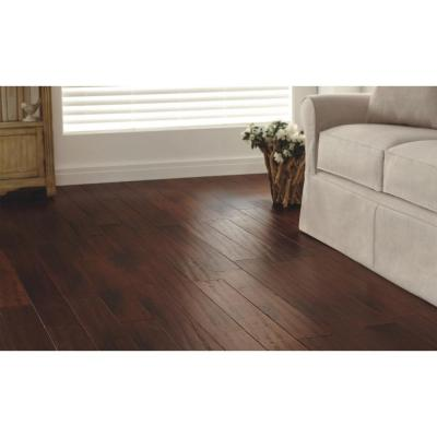 Hand Scraped Strand Woven Brown 1/2 in. T x 5-1/8 in. W x 72-7/8 in. L Solid Bamboo Flooring
