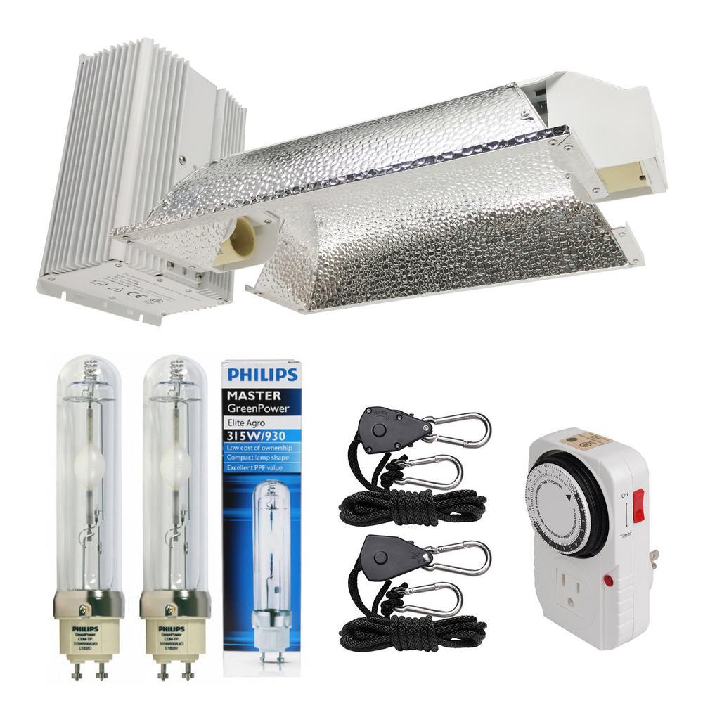 630-Watt Ceramic Metal Halide CMH Dual Lamp Enclosed Style Grow Light System with Philips Full Spectrum 315W 3100K Lamps