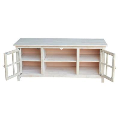 54 in. Unfinished Wood TV Stand Fits TVs Up to 60 in. with Storage Doors