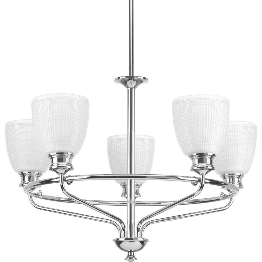 Progress lighting lucky collection 5 light polished chrome progress lighting lucky collection 5 light polished chrome chandelier with frosted prismatic glass arubaitofo Images