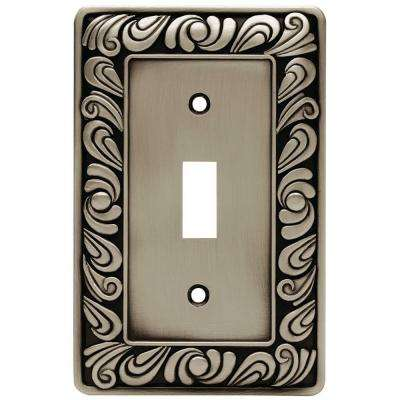 Paisley Decorative Single Switch Plate, Brushed Satin Pewter