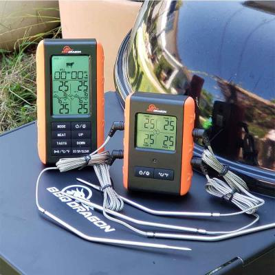 2-Piece Wireless Meat Thermometer with Remote, 4 High Temperature Probes
