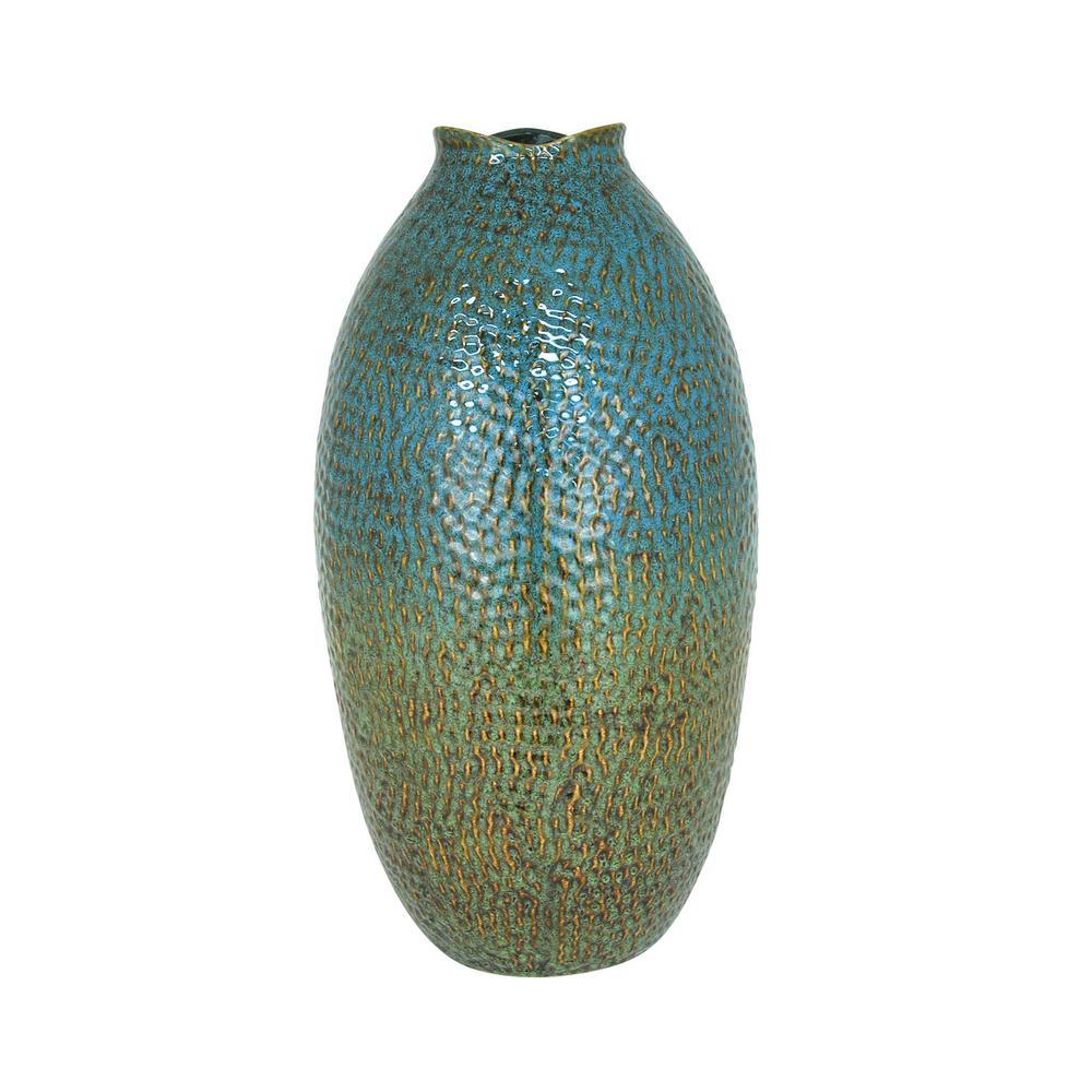 Aquatica 20 in. Ceramic Decorative Vase in Aquatica Finish