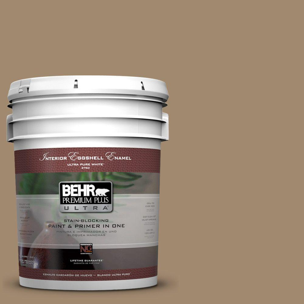 BEHR Premium Plus Ultra 5 gal. #PMD-102 River Mud Eggshell Enamel Interior Paint and Primer in One