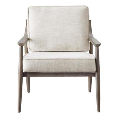 Samuel Arm Chair in Linen Fabric with Brown Brushed Wood Frame K/D
