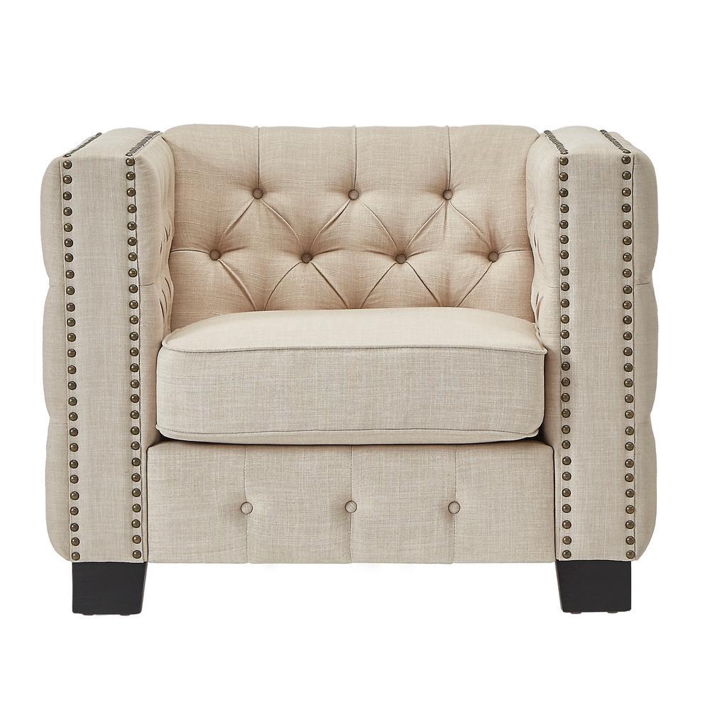 Lincoln Park Beige Linen Button Tufted Arm Chair