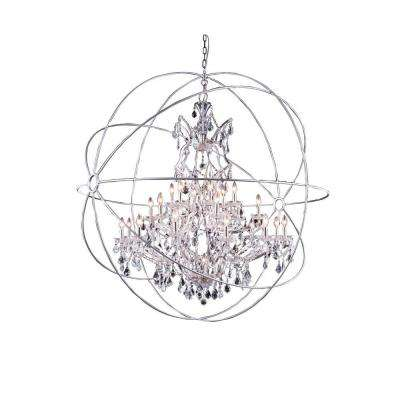 Geneva 25-Light Polished Nickel Chandelier with Clear Crystal