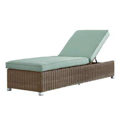 Camari Mocha Wicker Adjustable Outdoor Chaise Lounge Chair with Blue Cushion
