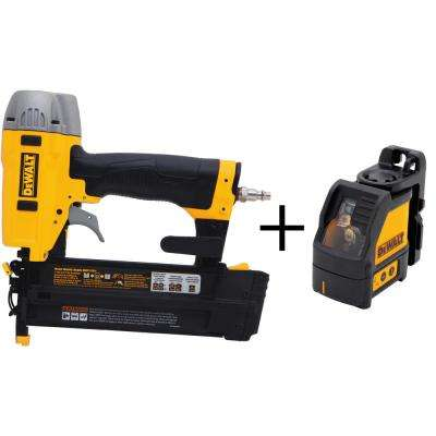 18-Gauge Pneumatic 2 in. Brad Nailer Kit with Bonus Cross Line Laser Level