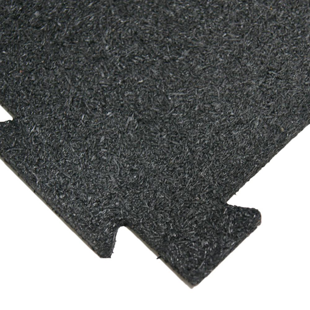 Puzzle Lock 3/8 in. x 20 in. x 20 in. Black Interlocking Rubber Flooring (6-Pack, 17 sq. ft.)