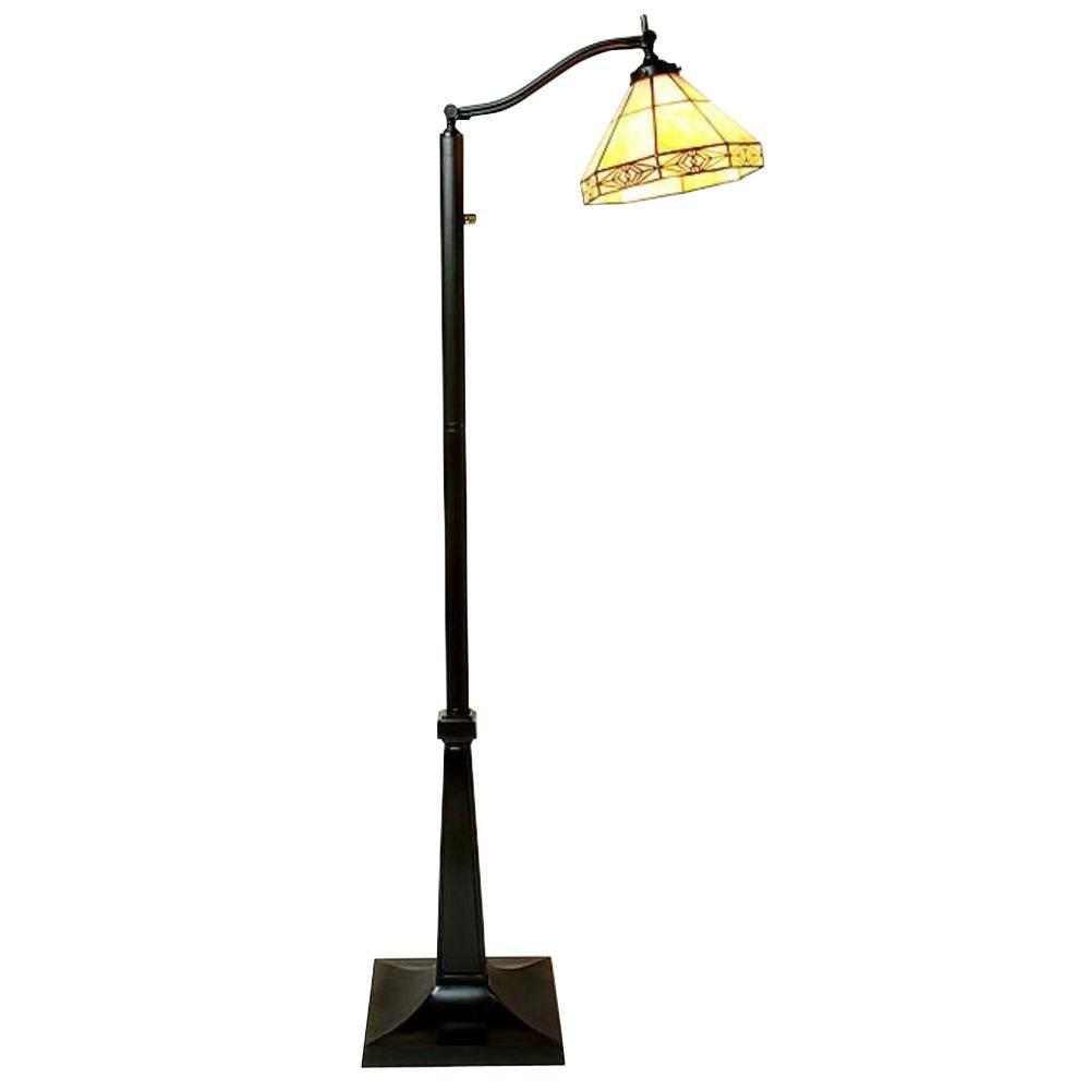 Warehouse of tiffany 58 in mission white reading brown floor lamp mission white reading brown floor lamp with foot switch aloadofball Choice Image