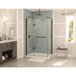 Reveal 31-7/8 in. x 48 in. x 71-1/2 in. Frameless Corner Pivot Shower Enclosure in Dark Bronze
