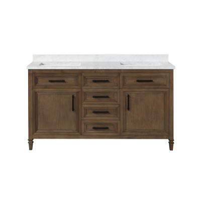 Aiken 60 in. W x 22 in. D Bath Vanity in Almond Latte with Cultured Marble Vanity Top in White with white Basins