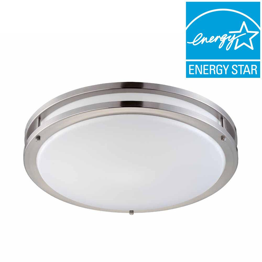 Hampton Bay 2 Light Brushed Nickel Fluorescent Ceiling Flushmount