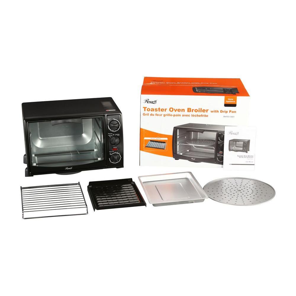 0.8 cu. ft. 6-Slice Black Toaster Oven Broiler