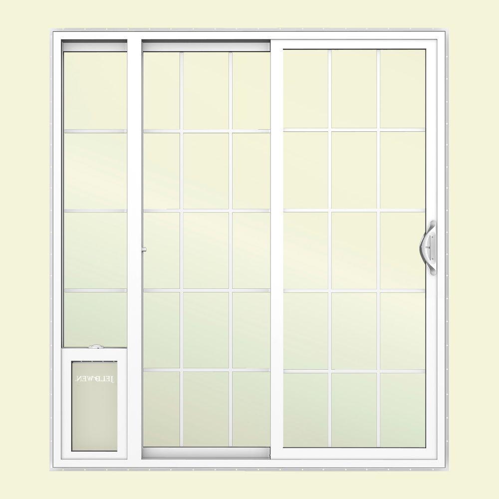 JELD-WEN 72 in. x 80 in. White Left Hand Vinyl Patio Door with Low-E Argon Glass, Grids and Large Pet Door