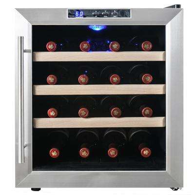 16-Bottle Single Zone Thermoelectric Wine Cooler in Stainless Steel with Wooden Shelves