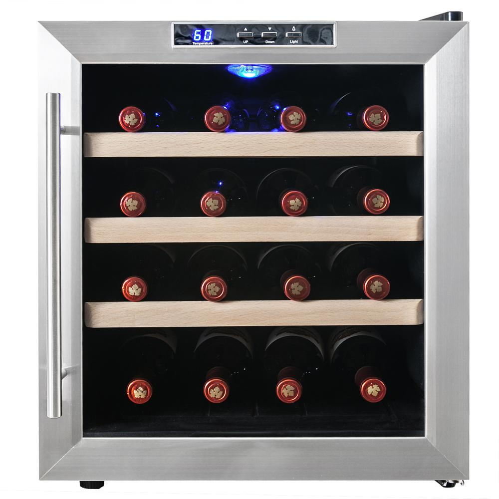 16-Bottle Single Zone Thermoelectric Wine Cooler in Stainless Steel with Wooden