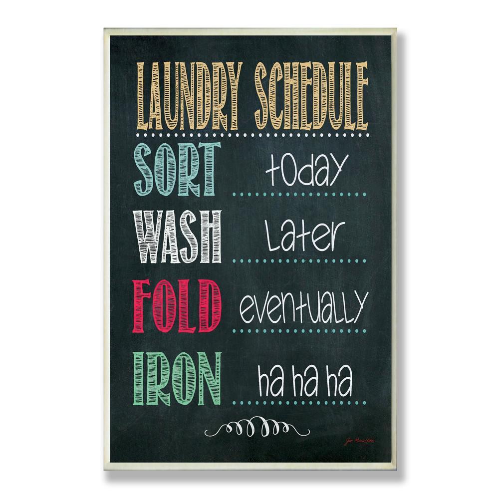 """12.5 in. x 18.5 in. """"Laundry Schedule Chalkboard Bathroom"""" by Jo Moulton Printed Wood Wall Art"""