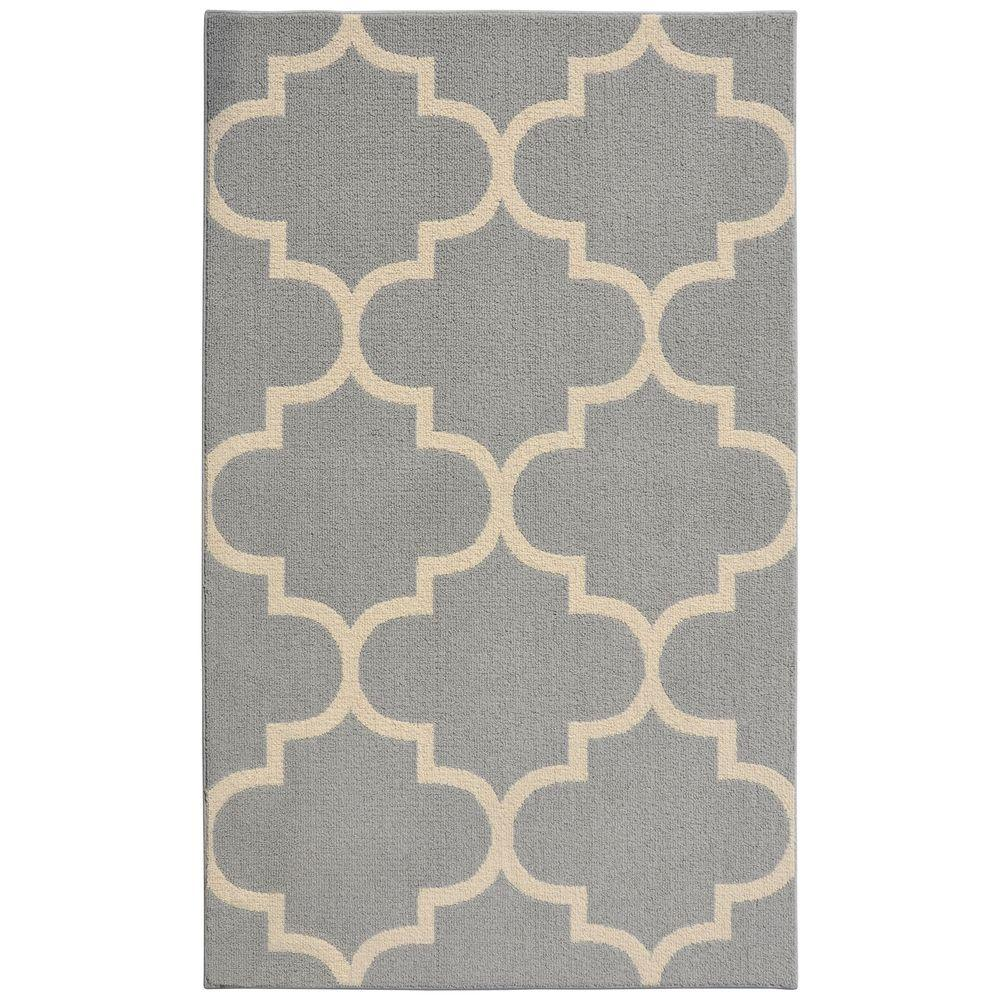 Garland Rug Large Quatrefoil Silver Ivory 5 Ft X 7 Ft Area Rug Ll240a060084d1 The Home Depot
