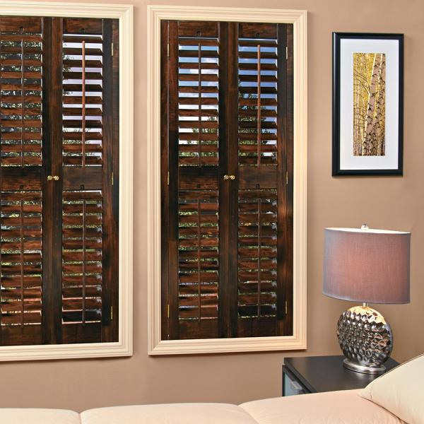 Home Basics Walnut 2 1 4 In Plantation Real Wood Interior Shutter 23 To 25 In W X 54 In L Qspc2354 The Home Depot