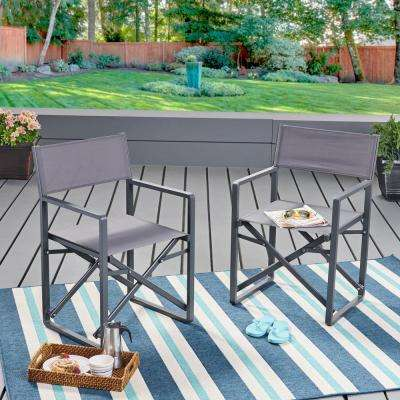 Monte Vista 2 Tone Gray Director-Style Metal Outdoor Lounge Chairs (2-Pack)