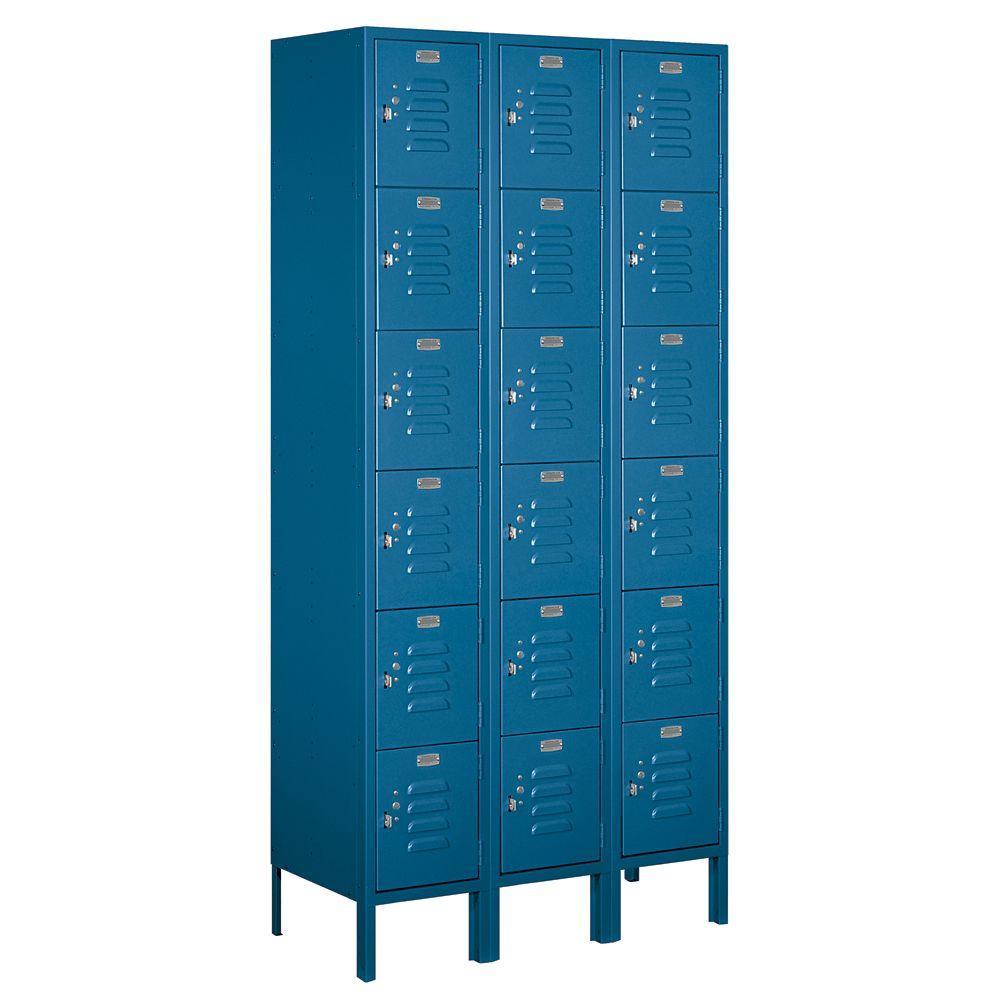 66000 Series 36 in. W x 78 in. H x 15 in. D 6-Tier Box Style Metal Locker Unassembled in Blue